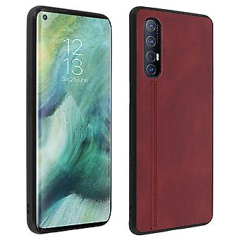 Protective Case Silicone with Leather Effect Red Oppo Find X2