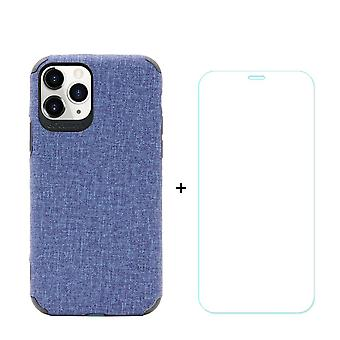 Voor iPhone 11 Pro Case Denim Texture Blue & Tempered Glass Screen Protector