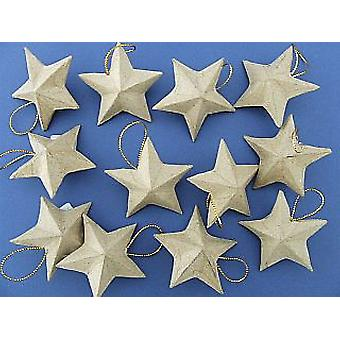 12 Paper Mache Star Hanging Christmas Ornaments to Decorate - 56mm