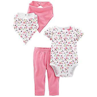 Simple Joys by Carter's Baby Girls' 4-Piece Bodysuit, Pant, Bib and Cap Set, ...