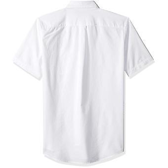 أساسيات الرجال & apos;ق سليم صالح قصيرة الأكمام جيب أكسفورد, أبيض, حجم كبير
