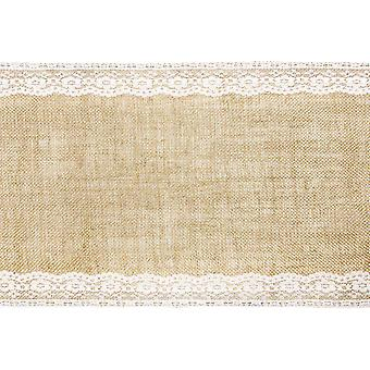 2.75m Jute and Lace Border 28cm Table Runner Roll