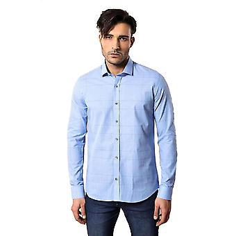 مدببة منقوشة ضئيلة تناسب قميص أزرق