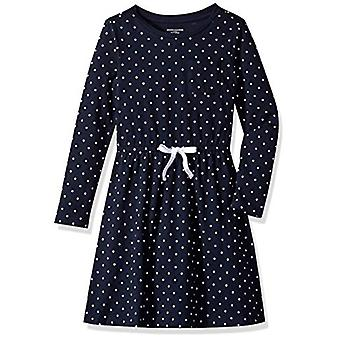 Essentials Big Girls' Long-Sleeve Elastic Waist T-Shirt Dress, navy/wh...