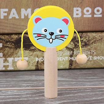 Cartoon Wooden Rattle, Wooden Rattle Drum Musical Instrument Percussion Child