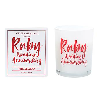 Gisela Graham Scented Candle - Ruby Wedding Anniversary - Prosecco