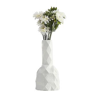 Geometric Polyhedron Ceramic Frosted Vases Large White