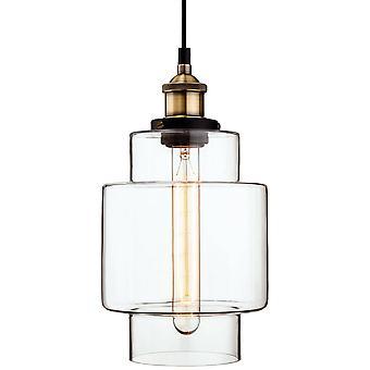 1 Licht Decke Anhänger antik Messing, klar Glas, E27