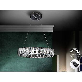 Integrated LED Dimmable Crystal Ceiling Pendant with Remote Control Chrome
