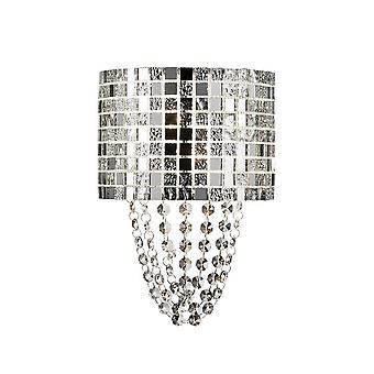 inspirert diyas - camden - vegglampe 2 lys G9 polert krom, mosaikk glass, krystall