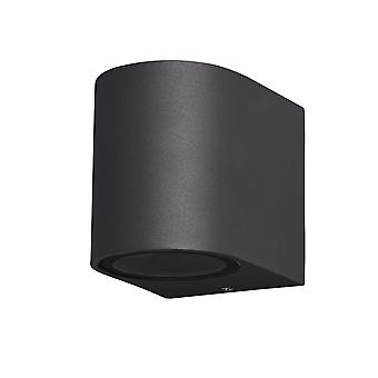 Okrągła lampa ścienna w dół, 1 x GU10, IP54, antracyt