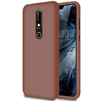 Soft Mobile Protection for Nokia 6.1 (2018) Ultra-Slim Rubber Solid Color Thin Light Brown