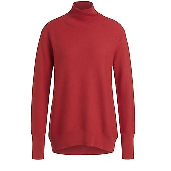 Oui Red Fine Ribbed Knit Jumper