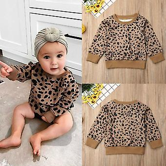 Autumn Baby Girls Kid Leopard Tops T-shirt - Pullovers Clothes