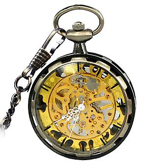 JIJIA JX006 Coverless Hollow Gold Luxury Mechanical Watch Pocket Watch