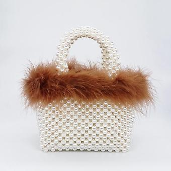 Faux Fur Pearl Evening Bag, Women Hand Woven Panelled Beaded Tote Purses And