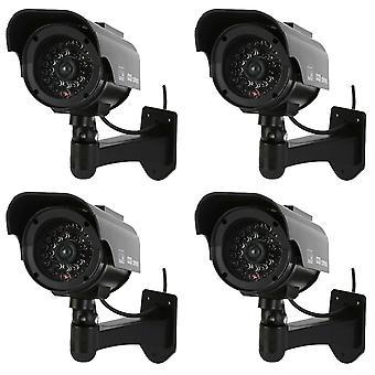 Caméras factices de balle nonmon, écran de simulation de vidéosurveillance faux alimenté solaire avec la lumière dirigée, surveillance p