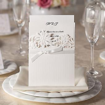 10 'Flowertop' & Ribbon White Laser Cut Invitations with Wallet