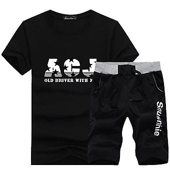 Sommer Trainingsanzug kurze Sweatshirt + Shorts Strand Herren Casual T-Shirts Set
