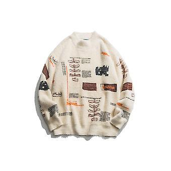 Graffiti Neulottu Pullover Jumper Puserot, Streetwear, Hip Hop Casual Long