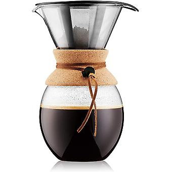 BODUM 11593-109 Pour Over Coffee Maker with Permanent s/s Filter, 12 Cup, 1.5L