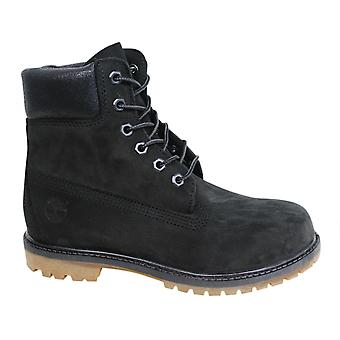 Timberland 6 Inch Premium Black Leather Suede Lace Up Womens Boots A1K38 B69D