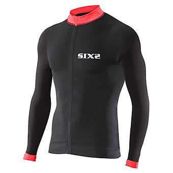 SIXS Bike 4 pruhy s dlhým rukávom Jersey čierna/červená medium