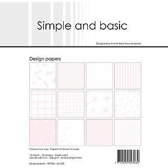 Enkel och grundläggande Baby Rosa 12x12 tums papperspaket