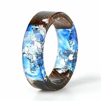 اليدوية اليدوية Diy الجافة زهرة حقيقية الخشب الراتنج خاتم الذهب / الفضة
