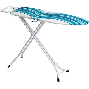 Mabel Home Adjustable Height, Deluxe, 4-Leg, Ironing Board, Extra Cover, Blue/White Patterned
