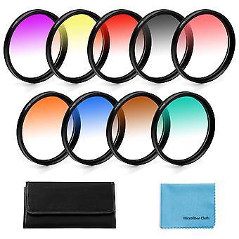55Mm graduated colour filters kit,fotover 9 pieces gradual colour lens filter kit set accessory for