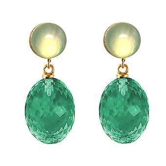 Gemshine boucles d'oreilles tourmaline vert quartz et chalcédoine en argent 925 plaqué or