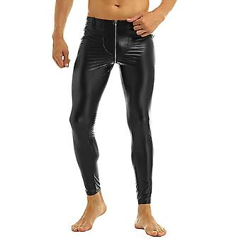 Faux Leather Zipper Crotch Tight Pants