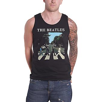 The Beatles Vest Top Abbey Road Band Logo Albumi Cover Official Mens New Black