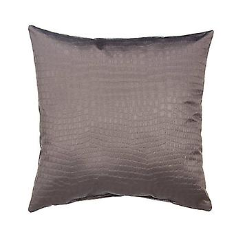 """Afterwhile Crocodile Embossed Decorative Square Pillow 18"""" X 18"""", Grey"""