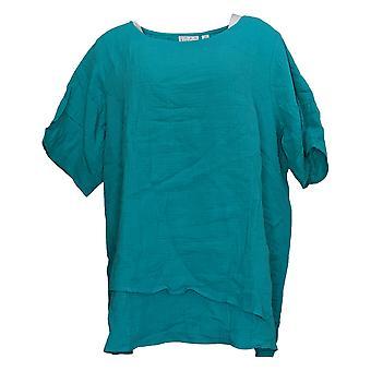 Joan Rivers Classics Collection Kvinder's Top Plus Crinkle Hem Blue A351497