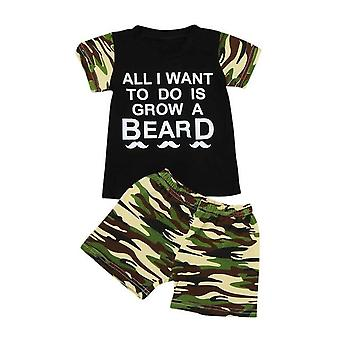 Baby Boy Cotton Short Sleeve T-Shirt And Camouflage Shorts