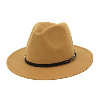 خمر الصوف فيدورا قبعة، حافة واسعة مع حزام مشبك قبعات قابل للتعديل