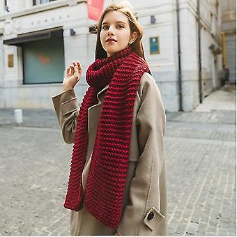 Imitation Cashmere Winter Women 's Scarf Bib Thick Pure Color Knitted Thick Wool Handmade Scarf