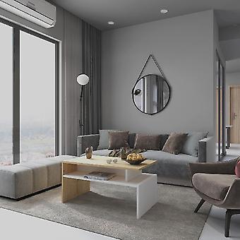 Sofabord Caffe'Ada Hvid farve, Melamine Spånplader Eg, L90xP50xA43 cm