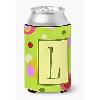Buchstabe L anfängliche Monogramm - grüne Dose oder Flasche Getränk Isolator Hugger