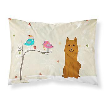 Caroline's Treasures Christmas Presents Between Friends Karelian Bear Dog Fabric Standard Pillowcase Bb2494Pillowcase, Multicolor