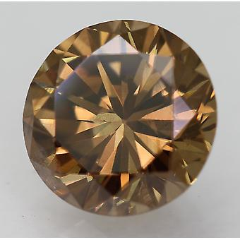 Cert 1.35 Karaat Vivid Brown VVS2 Ronde Brilliant Enhanced Natural Diamond 7.04mm