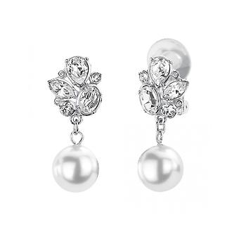 Traveller Drop Clip Earrings - Hanging -  White pearls - Rhodium plated - 114196