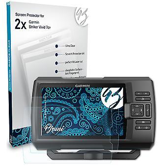 Bruni 2x Schutzfolie kompatibel mit Garmin Striker Vivid 7cv Folie