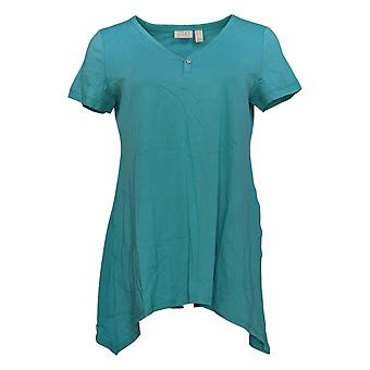 LOGO by Lori Goldstein Women's Top V-Neck & Sharkbite Hem Blue A344876