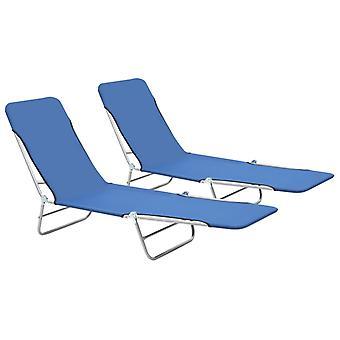vidaXL fällbara bord 2 st. stål och tygblått