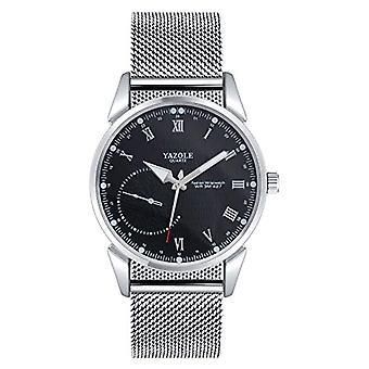 SUPBRO Ultra thin men's watches casual black quartz minimalist with silver mesh strap