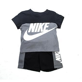 Nike Amplify Bebé Niños Camiseta de Niños &Corto Verano Conjunto Negro/Gris