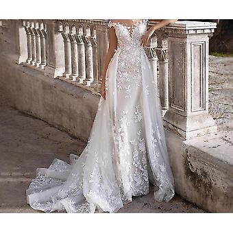 Short Sleeves Appliques Mermaid Bridal Dress